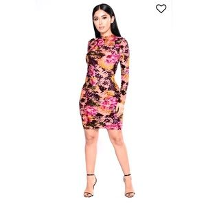 Dresses & Skirts - Long Sleeve Floral Stretch Bodycon Plus Midi Dress